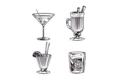 Sketch cocktails alcohol drinks. Hand drawn cold beverages in differen