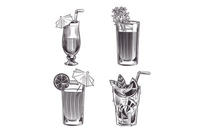 Sketch cocktails. Hand drawn alcohol drinks. Cold beverages set. Black