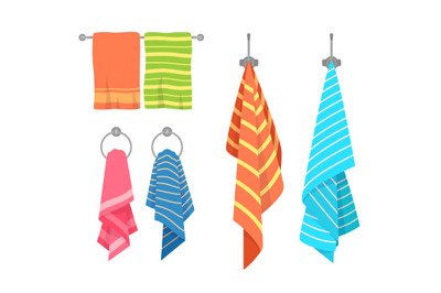 Towel cartoon. Kitchen and bath hanging towels collection. Kids and ad