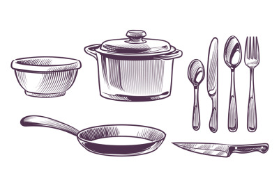 Utensils kitchen. Cooking metal chef equipment sketch style collection