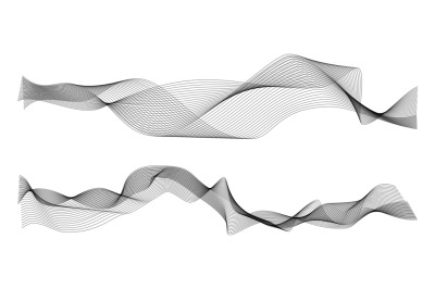 Waves abstract. Graphic line sonic or sound wave elements. Black curve
