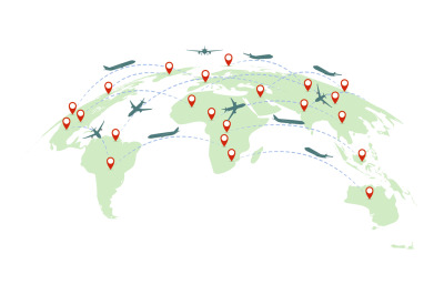 Air service. Earth map with continents, international plane flight, ai
