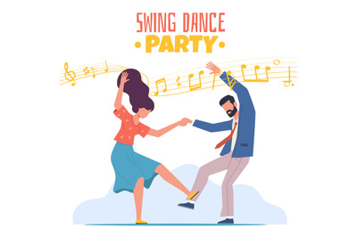 Boogie Woogie Dancing. Happy couple man and woman on swing dance party