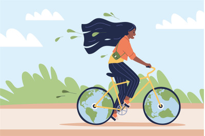 Eco-friendly transport. Happy woman ride bicycle in park, ecological g