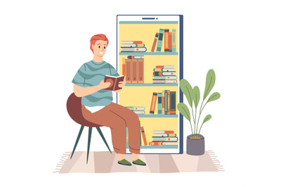 Electronic library. Young man sitting and reading digital book, booksh