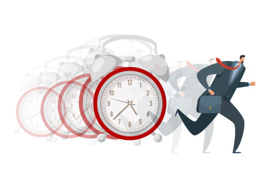 Hurry, late arrival. Busy business worker running away, huge alarm clo