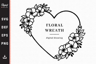 Cherry blossom SVG, Floral wreath SVG, Valentine wreath SVG, DXF, PNG