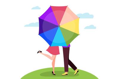 Kiss behind umbrella. Men and women pair, walking together rainy day,