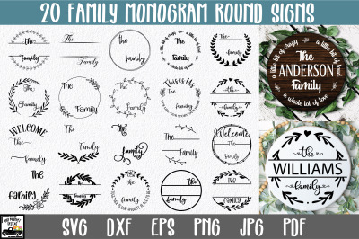 Family Monogram Bundle - 20 Round Sign SVG Files
