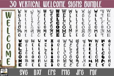 Vertical Welcome SVG Bundle - Welcome Sign SVG File