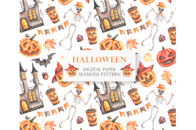 Halloween seamless pattern. Pumpkin. Watercolor Halloween.