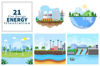 21 Ecological Sustainable Energy Supply Illustration