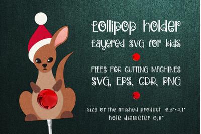 Kangaroo Christmas Lollipop Holder Template SVG