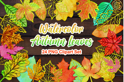 Watercolor Fall Autumn Leaves PNG Clipart Set