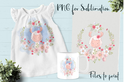 Cute Lama sublimation. Design for printing.