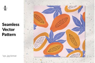 Papaya fruit seamless pattern