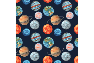 Planets watercolor seamless pattern. Solar system, space, galaxy.