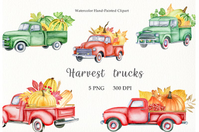 Watercolor autumn pickup truck clipart. Hand drawn fall thanksgiving
