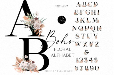 Boho floral wedding alphabet clipart, Watercolor pastel flowers abc