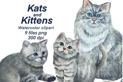 Cats and kittens.watercolor clipart