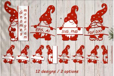 Dwarfs with a monogram. SVG for sublimation