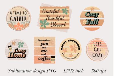 Fall Sayings Quotes. Sublimation Mug PNG. November Clipart.
