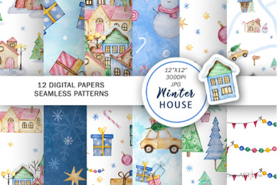 Watercolor christmas winter houses seamless pattern