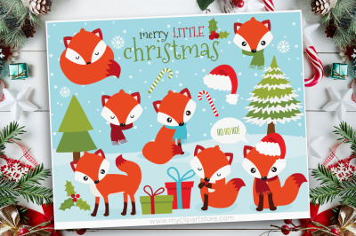 Red Christmas Fox Vector Clipart