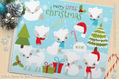 White Christmas Fox Vector Clipart