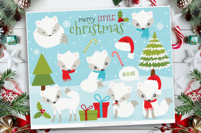 White Christmas Fox Clipart, Vector, Sublimation, SVG