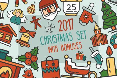 Christmas 25 Icons Set + Bonus Illustrations