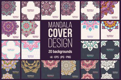 20 greeting vector card with mandala