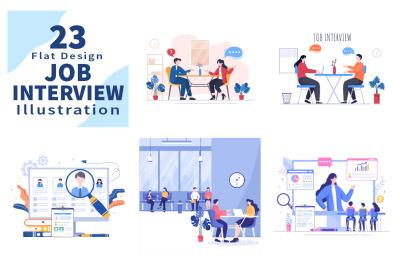 23 Job Interview Meeting and Hiring Online Vector Illustration