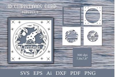 3d Christmas card. Paper cut SVG