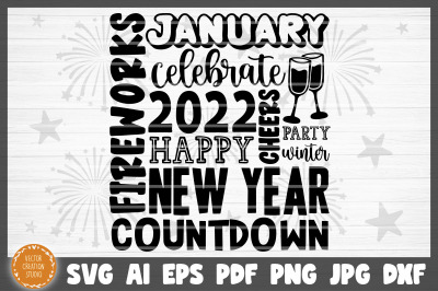 2022 Happy New Year Celebrate Cheers SVG Cut File