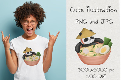 Sublimation cute panda.Kawaii illustration.Cartoon food.PNG