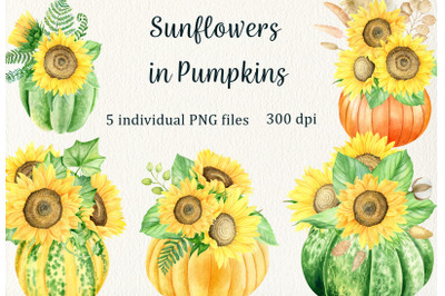 Watercolor sunflowers in pumpkins clipart. Fall thanksgiving bouquets