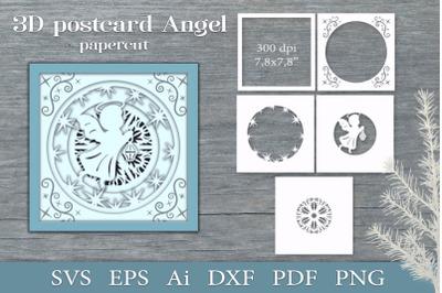 3D postcard Angel. Paper cut SVG