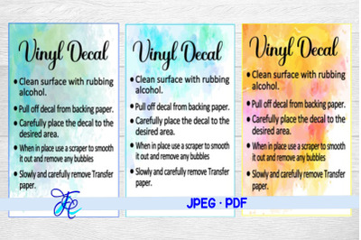 Vinyl Decal Care Cards