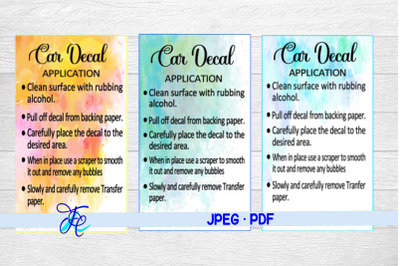 Car Decal Care Cards