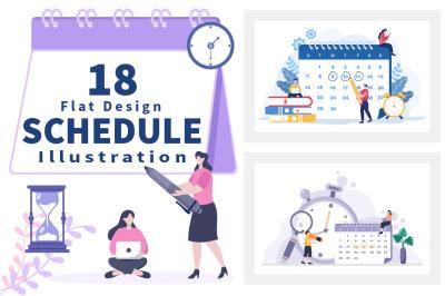 18 Planning Schedule or Time Management Calendar Illustration