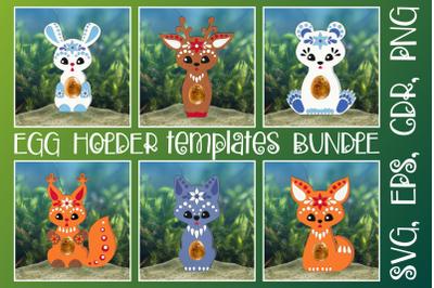 Animals in Ethnic Style Egg Holders Bundle SVG