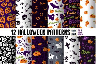 Halloween vector patterns pack
