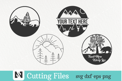 A Bundle of 4 Travel and Mountain Svg Vector Files