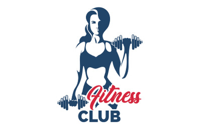 Fitness club emblem with training athletic woman