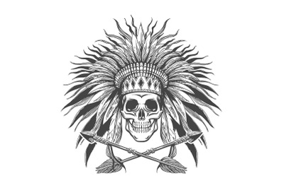 Skull in Indian War Bonnet and Arrows Tattoo