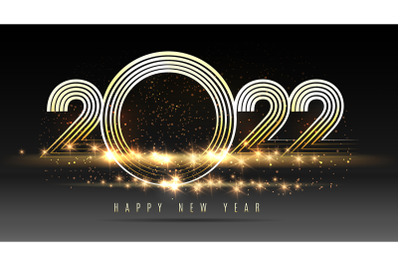 Happy New Year 2022 golden numbers on black background
