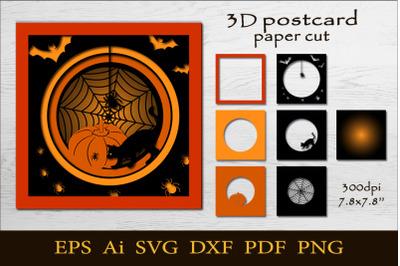 3D Halloween postcard. Paper cut SVG