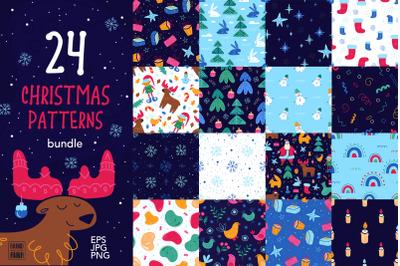 Christmas patterns vector bundle