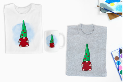 Christmas Gnome with hearts Sublimation Design